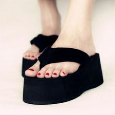 Black platform slippers