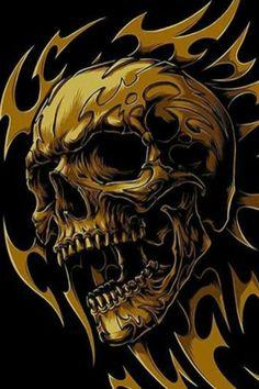 None of these images are mine =) Skull Tattoo Design, Skull Design, Skull Tattoos, Tattoo Designs, Dark Fantasy Art, Dark Art, Arte Heavy Metal, Skull Stencil, Ghost Rider