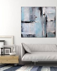 Large abstract painting, original art by Christov Art. Light blue and gray, white and black contrast. About the painting:  TITLE: Rain SIZE: Large 40 x 40 (sides finished, ready to hang).  MEDIUM: Acrylic On Canvas.  Main colors: Light blue, black, white, gray.  This large original abstract painting is signed, stamped and dated. The painting is varnished to protect from dust and UV. Certificate of Authenticity is included. This artwork has light and calming color palette - great for a…