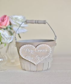 Here Comes The Bride Flower Girl Basket Rustic Chic Wedding Decor NEW 2014 Design by Morgann Hill Designs on Etsy, $39.99