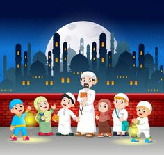 The children and their teacher are standing in front of the red wall Vector Eid Mubarak Greetings, Ramadan Mubarak, Sheep Vector, Ramadan Kareem Vector, Anime Muslim, Islam For Kids, Things To Do With Boys, City Vector, Free Cartoons