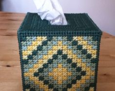 Plastic canvas tissue box by on Etsy Plastic Canvas Box Patterns, Plastic Canvas Coasters, Plastic Canvas Stitches, Plastic Canvas Ornaments, Plastic Canvas Tissue Boxes, Plastic Canvas Crafts, Crochet Slipper Pattern, Tissue Box Covers, Tissue Holders