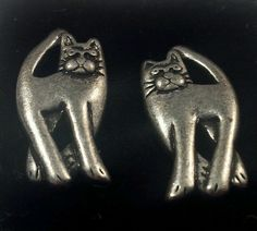 Cat Earrings in Silver-tone Pewter Style - Collectible Jewelry Kittens Caturday #Stud