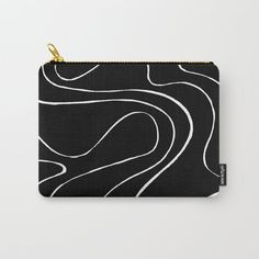 Ebb and Flow 2 - Black on White Carry-All Pouch by laec | Society6