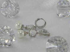 Wedding Jewelry CZ Square_Pearl Dangle by BridalTreasures4U, $50.00