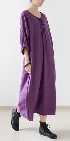 2016 fall lavender long linen dresses plus size maxi dress gown caftans