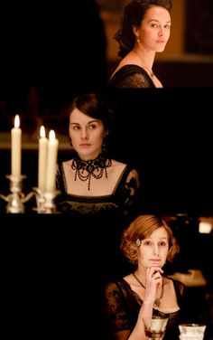 Downton Abbey. Jessica Brown Findlay as Lady Sybil, Michelle Dockery as Lady Mary and Laura Carmichael as Lady Edith Crawley.