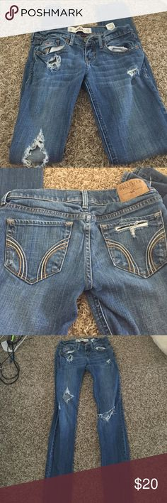 Excellent Condition Hollister Distressed Jeans Barley worn. In excellent condition. No stains and comes from a smoke free home! Hollister Jeans Skinny