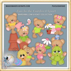 Teddy bears Fun in the Garden by MagicmakerScraps on Etsy,