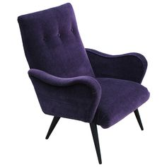 Opulent Sculptural Italian Purple Armchair | From a unique collection of antique and modern chairs at https://www.1stdibs.com/furniture/seating/chairs/