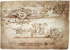 レオナルド・ダ・ヴィンチ 《大鎌を装備した戦車の二つの案》 1485年頃 トリノ王立図書館
