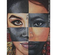 """One And The Same"" By Malinda Prudhomme $101.00 - Ethnic Art, Racism, Multiculturalism, African Woman, Indian Woman, Acrylic Painting, Female Beauty"