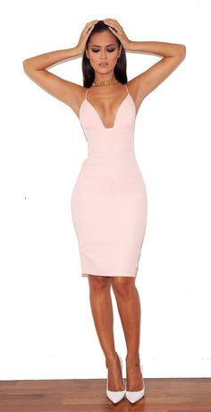 'Loren' Blush Bralet Shape Bodycon Dress