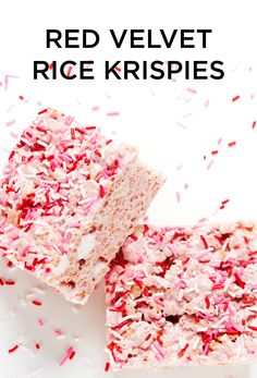 Have your cake and eat it too with these gooey Red Velvet Rice Krispie Squares! #BiteMeMore #desserts #redvelvet