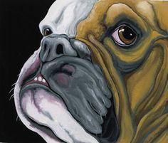 English Bulldog  Pet Dog Original Art Painting  by carlascreatures, $38.00