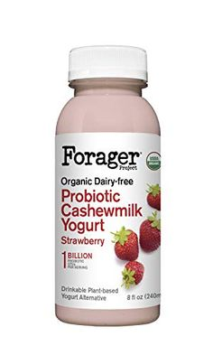 Forager Project, Organic Dairy-Free Strawberry Probiotic Drinkable Cashewmilk Yogurt, 8 Ounce Forager Project