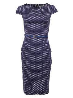 Closet - Modro-bílé bavlněné šaty s páskem - 1
