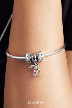Pandora Jewelry OFF! Symbolise how you've found your feet in life with this beautifully crafted Pandora Disney Bambi dangle in sterling silver. Disney Pandora Bracelet, Pandora Jewelry Box, Pandora Charms Disney, Pandora Bracelets, Simple Bracelets, Silver Bangle Bracelets, Cute Jewelry, Charm Jewelry, Silver Jewelry