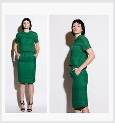 EISA BALENCIAGA COUTURE Vintage 1960s Kelly Green Suit