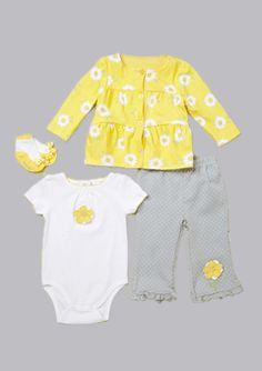 Vitamins Baby 3-Piece Creeper Pant Set Daisy Print | Vitamins Baby Clothes | New Baby Clothes | Girls Baby Clothes | Infant Clothes | Baby Clothing | New Born Baby Clothing | Designer Baby Clothes | Cute Baby Clothing.