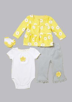 Vitamins Baby 3-Piece Creeper Pant Set Daisy Print | Vitamins Baby Clothes | New Baby Clothes | Girls Baby Clothes | Infant Clothes | Baby Clothing | New Born Baby Clothing | Designer Baby Clothes | Cute Baby Clothing.