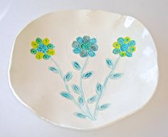 Ceramic Platter, Serving Dish, flower platter, Decorative Platter, spring decor, hand painted flower plate, pottery platter, turquoise blue