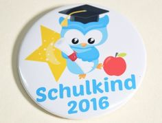 Button Schulkind 2016 Eule blau