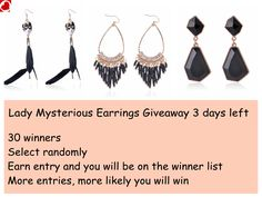 Hey there, Bridgat black earrings giveaway has 3 days to go! Win just by click!
