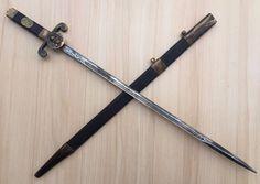 Vintage Masonic Freemasonry Ritual Dagger Sword Brass Ornaments & Wooden Case