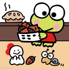 It's time to celebrate for Thanksgiving! Cute Characters, Cartoon Characters, Keroppi Wallpaper, Thanksgiving Wallpaper, Cute Frogs, Favorite Cartoon Character, Little Twin Stars, Preschool Worksheets, Time To Celebrate