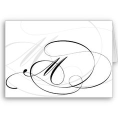 Black & White Calligraphy Initial M Monogram Cards by imagina
