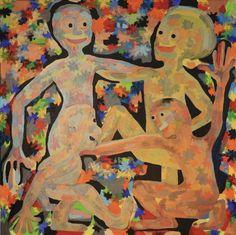 Family Time/Maarit Korhonen, acrylic, canvas, 92cm x 92cm Dark Paintings, Original Paintings, Online Painting, Artwork Online, Dancer In The Dark, Autumn Painting, Original Art For Sale, Acrylic Canvas, Artists Like