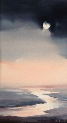 Moonlit IV, Watercolor by Betsy Jacaruso Watercolor Clouds, Watercolor Landscape Paintings, Watercolor Background, Abstract Watercolor, Watercolor Illustration, Landscape Art, Simple Watercolor, Tattoo Watercolor, Watercolor Animals