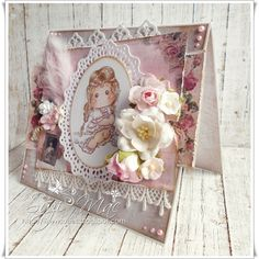 Any occasion card using Boho Tilda from http://magnoliastamps.us/ #cards #crafts #Tilda #flowers #lace #pearls #feathers #
