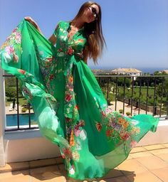 Green V Neck Belted Floral Bohemian Maxi Dress Green Floral Dress, Floral Maxi Dress, Women's Dress Watches, Chiffon Dress Long, Long Summer Dresses, Dress Picture, Print Chiffon, Boho Fashion, Fashion Design