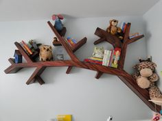 Kids Room Play Room Design Tree Branch Shaped Contemporary Wooden Bookshelves Shelf