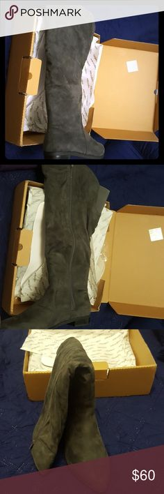 """Wide Calf Boot These are Comfortview Alyssa Wide Calf Tall Boots that have never been worn. Size 11 WW. Suede material with elastic stretch band on back. Full inside zipper with a 19.5"""" shaft and a 1"""" heel. Original purchase price $120. I bought these with the intention of wearing them but they were too tall for my liking. They are coming from a smoke free and pet free home. Still in original box. Comfortview Shoes Heeled Boots"""