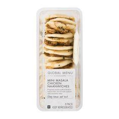 Mini Masala Chicken Naanwiches 8Pk Shopping List Grocery, Chicken Masala, Pulled Chicken, Cooking Ingredients, Food Preparation, Cucumber, Menu, Snacks, Vegetables