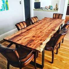 Mia y Saudek Dining Room Tables Are Loft Beds (Bunk Beds) Safe? Slab Dining Tables, Wood Table Design, Live Edge Dining Table, Beautiful Dining Rooms, Wood Dining Room Table, Furniture, Diy Dining Room, Rustic Dining Room, Dining