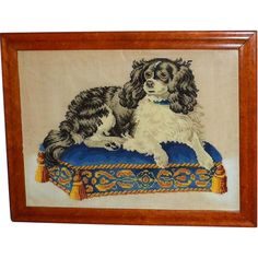 """Victorian Woolwork of """"Dash,"""" the Queen's King Charles Spaniel"""