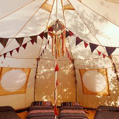 Eye catching Luna bell tent for hen party glamping, children's party or tea party. Bell Tent Camping, Tent Decorations, Glamping, Tea Party, Fair Grounds, Tents, Children, Keyboard, Notes