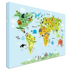 Animal World Map X In X In X In Kids - Children's maps to print