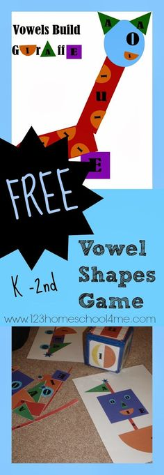 FREE Vowel Shapes Game - this is such a fun way for kindergarten, 1st grade, and 2nd grade to practice identifying vowels (homeschool, language arts)