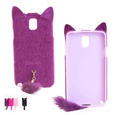 3D Girls Lovely Cute Smile Charming Plush Cat Ear Tail Case Cover Skin For Samsung Galaxy Note 3 III N9000 by GoodToBuy, $11.99