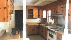 Wood kitchen cabinet restoration. Whole house before/after photos included Wood Kitchen Cabinets, Kitchen Reno, Knotty Pine Kitchen, Before After Photo, Home Renovation, Restoration, Interior, Easy, Photos