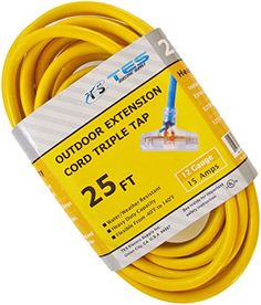 25/' Heavy Duty Extension Cord Outdoor//Indoor with Lighted Tri-Tap Green CGM