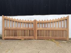 Made to Measure Iroko hardwood gates with curved tops & palisade infill top and bottom. Great for automation or manual operation. Timber Gates, Wooden Gates, Driveway Entrance, Entrance Gates, Fence Gate, Fencing, Drive Gates, Farm Entrance, Wood Fence Design