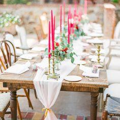 Tischdeko - Tischdeko selber planen in Rot & Gold Tischansicht - CandyCrushEvents via Etsy