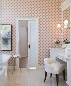 The Sweet Hue Warms Up The Otherwise Neutral Master Bathroom That Stays  Light And Airy Thanks To A Glass Paneled Walk In ...