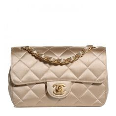 CHANEL Satin Quilted Rectangular Mini Flap Gold ❤ liked on Polyvore featuring bags, handbags, shoulder bags, mini shoulder bag, chanel purses, special occasion handbags, gold handbag and quilted chain strap shoulder bag